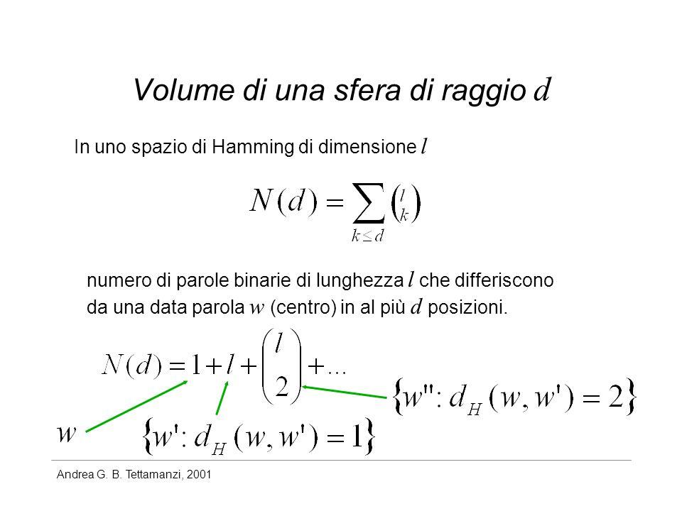 Andrea G. B. Tettamanzi, 2001 Volume di una sfera di raggio d In uno spazio di Hamming di dimensione l numero di parole binarie di lunghezza l che dif