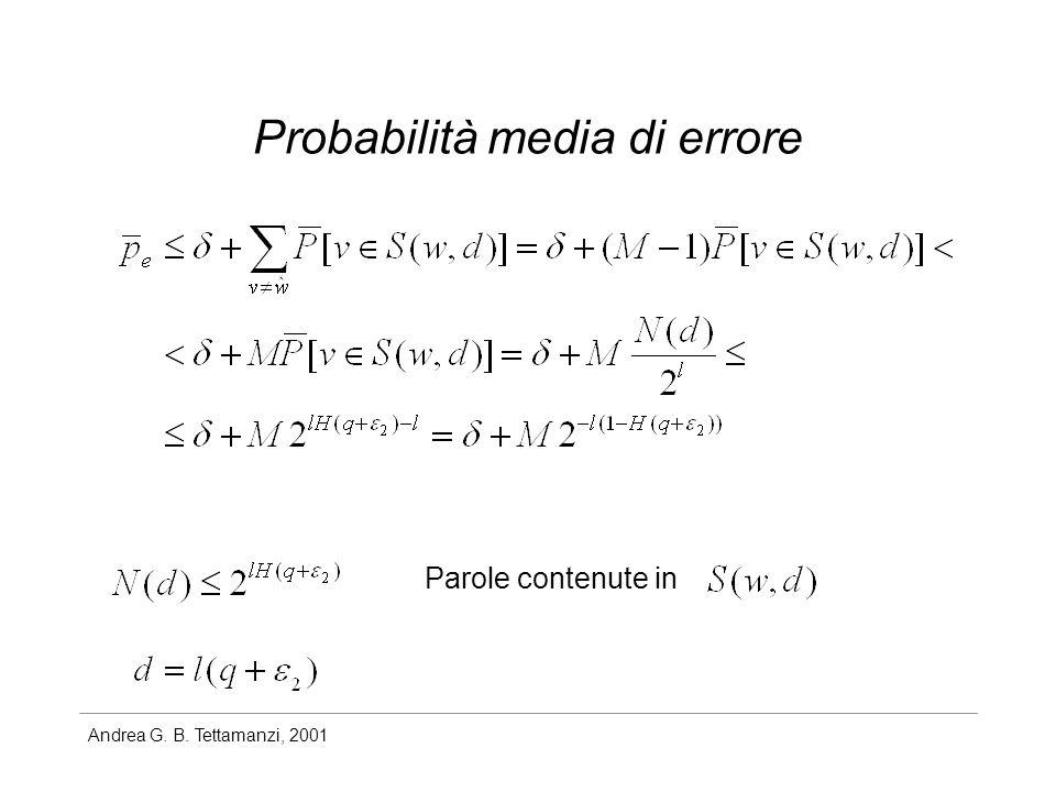 Andrea G. B. Tettamanzi, 2001 Probabilità media di errore Parole contenute in