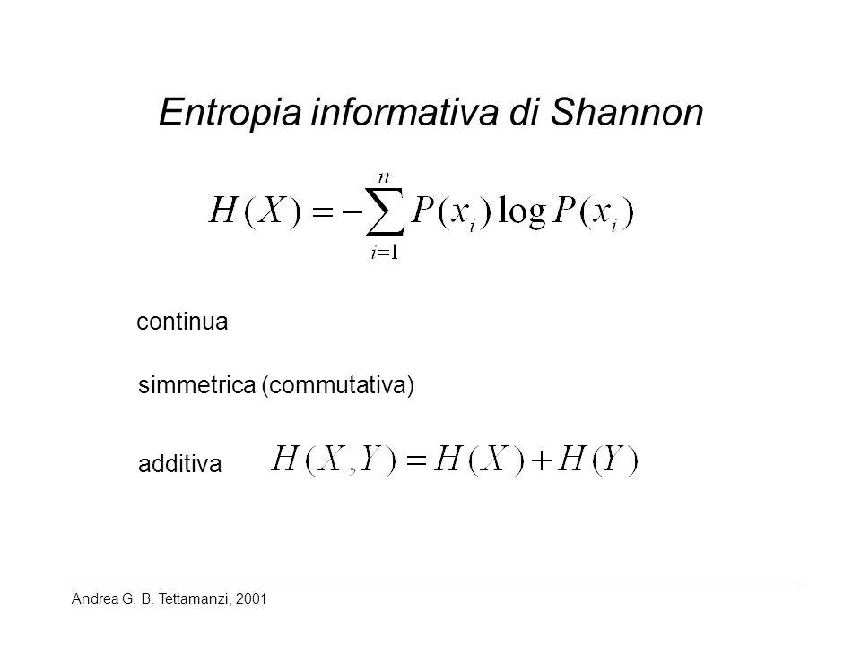 Andrea G. B. Tettamanzi, 2001 Entropia informativa di Shannon continua simmetrica (commutativa) additiva