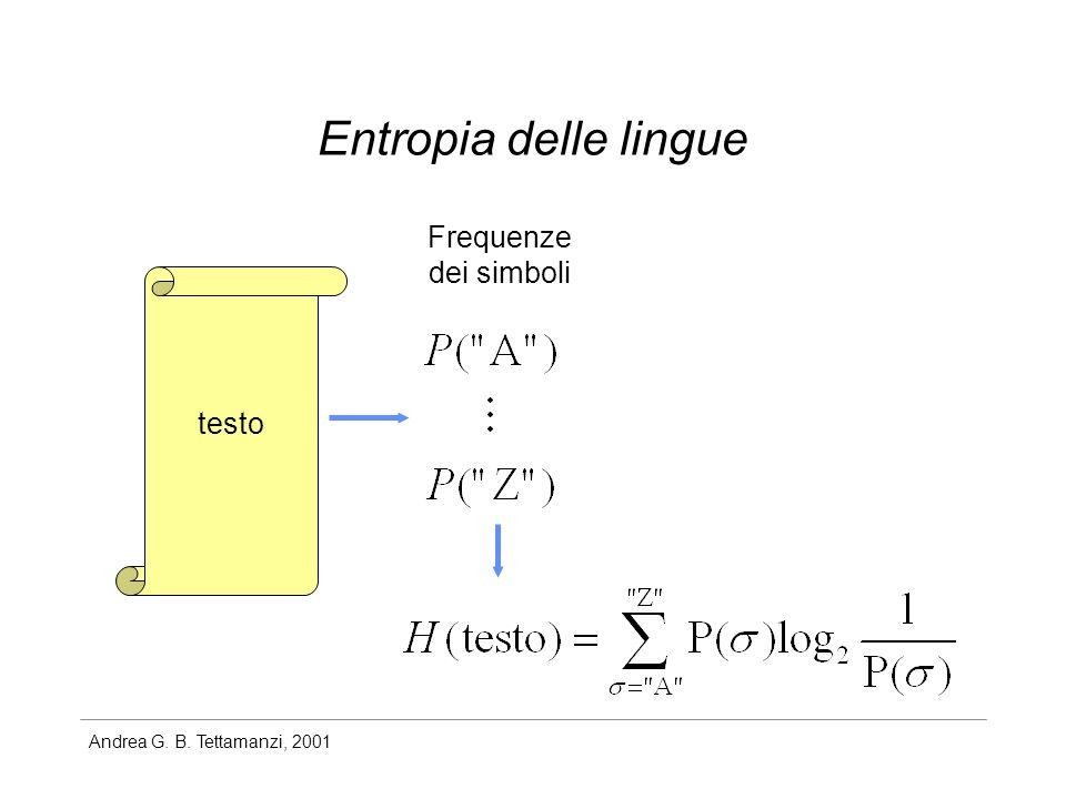 Andrea G. B. Tettamanzi, 2001 Entropia delle lingue testo Frequenze dei simboli