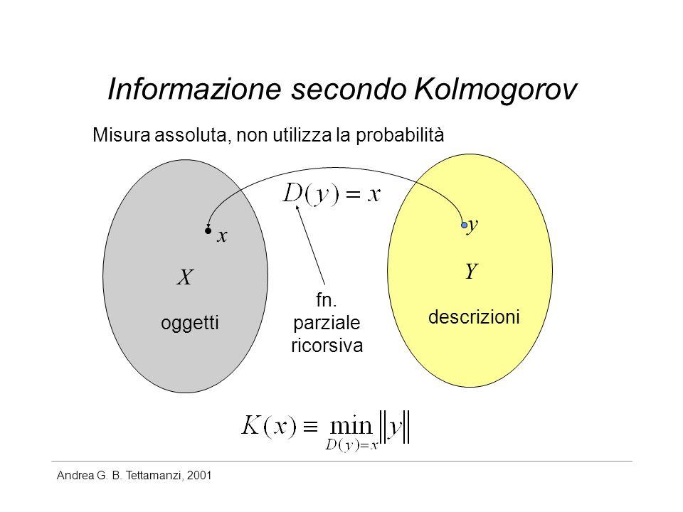 Andrea G. B. Tettamanzi, 2001 Informazione secondo Kolmogorov Misura assoluta, non utilizza la probabilità X Y x y descrizioni oggetti fn. parziale ri