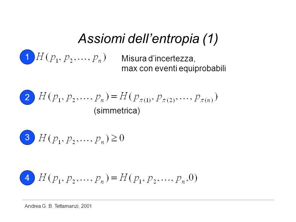 Andrea G. B. Tettamanzi, 2001 Assiomi dellentropia (1) Misura dincertezza, max con eventi equiprobabili 1 2 3 4 (simmetrica)