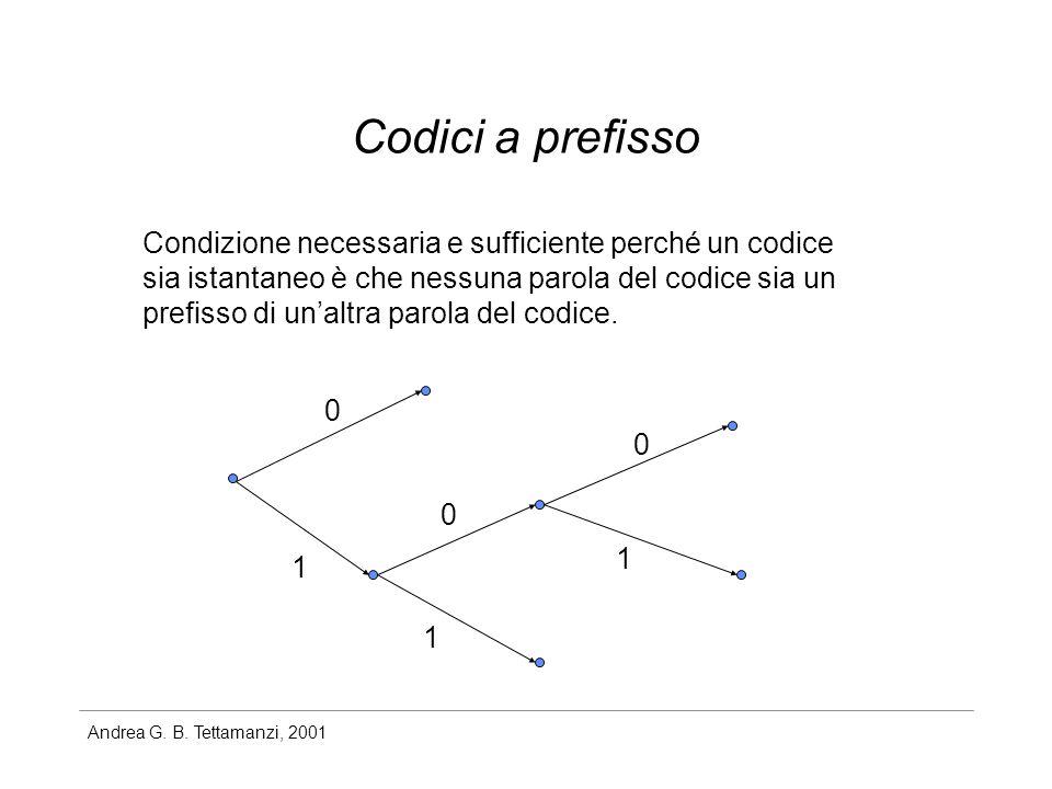 Andrea G. B. Tettamanzi, 2001 Codici a prefisso Condizione necessaria e sufficiente perché un codice sia istantaneo è che nessuna parola del codice si