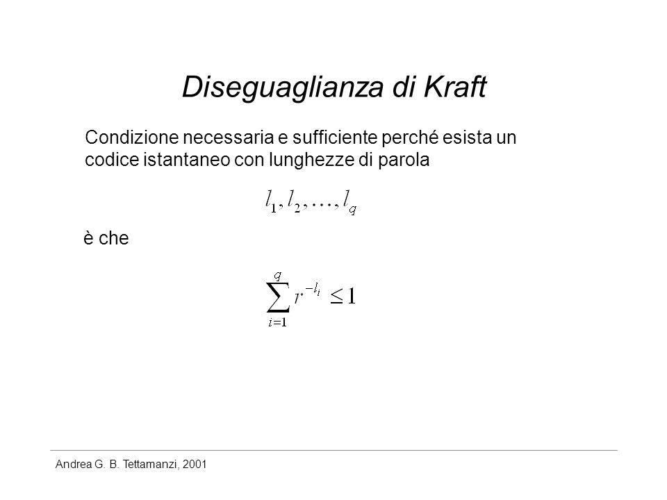Andrea G. B. Tettamanzi, 2001 Diseguaglianza di Kraft Condizione necessaria e sufficiente perché esista un codice istantaneo con lunghezze di parola è
