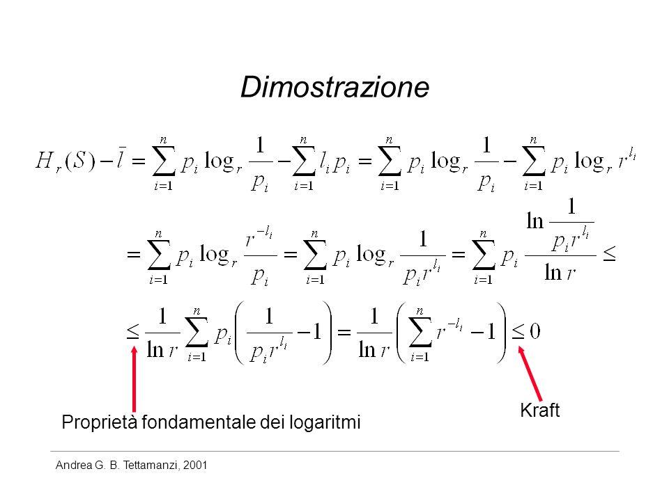 Andrea G. B. Tettamanzi, 2001 Dimostrazione Kraft Proprietà fondamentale dei logaritmi