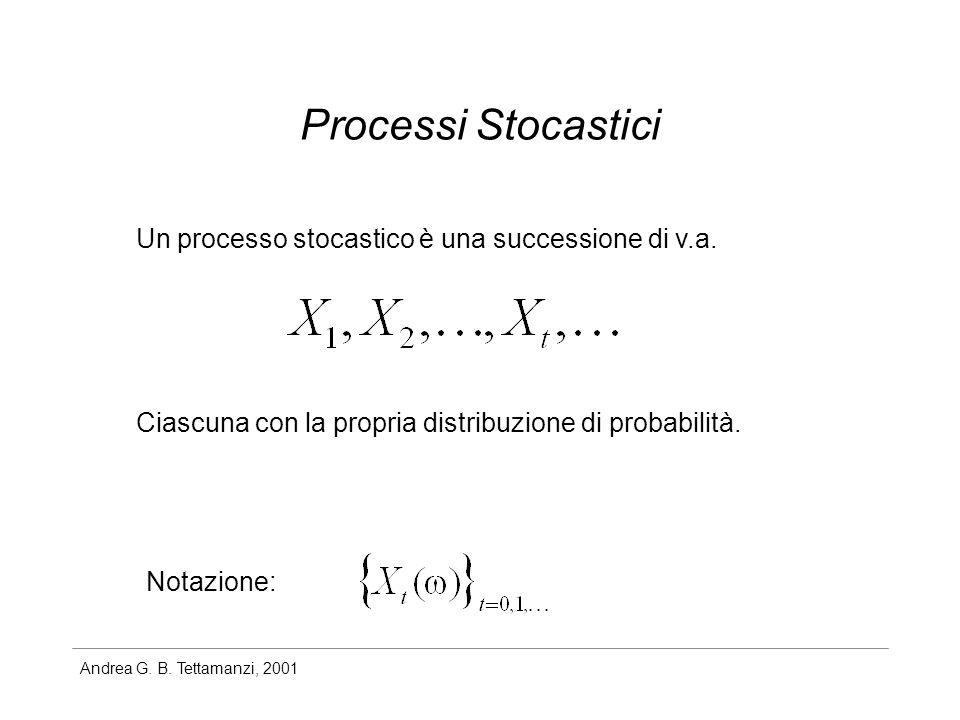 Andrea G. B. Tettamanzi, 2001 Processi Stocastici Un processo stocastico è una successione di v.a. Ciascuna con la propria distribuzione di probabilit