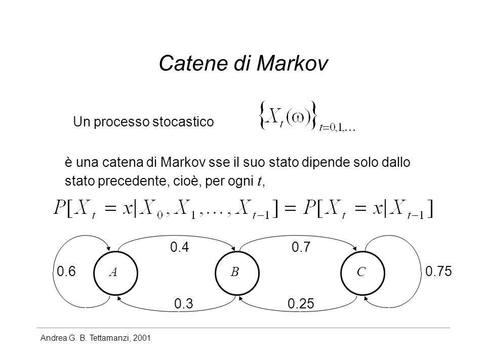 Andrea G. B. Tettamanzi, 2001 Catene di Markov Un processo stocastico è una catena di Markov sse il suo stato dipende solo dallo stato precedente, cio