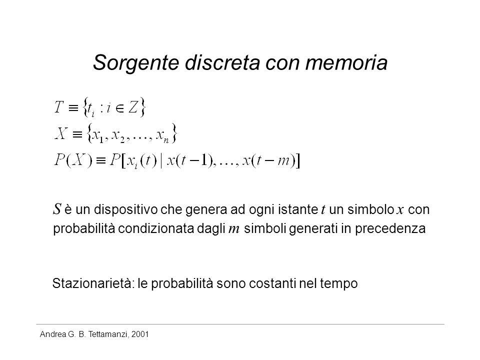 Andrea G. B. Tettamanzi, 2001 Sorgente discreta con memoria S è un dispositivo che genera ad ogni istante t un simbolo x con probabilità condizionata