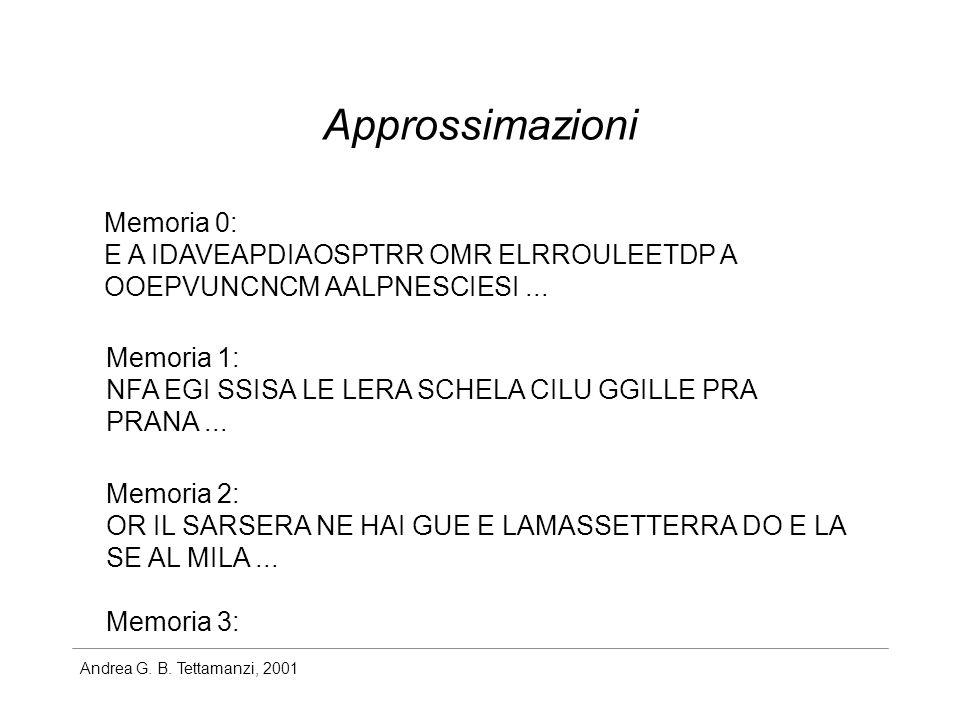 Andrea G. B. Tettamanzi, 2001 Approssimazioni Memoria 0: E A IDAVEAPDIAOSPTRR OMR ELRROULEETDP A OOEPVUNCNCM AALPNESCIESI... Memoria 1: NFA EGI SSISA