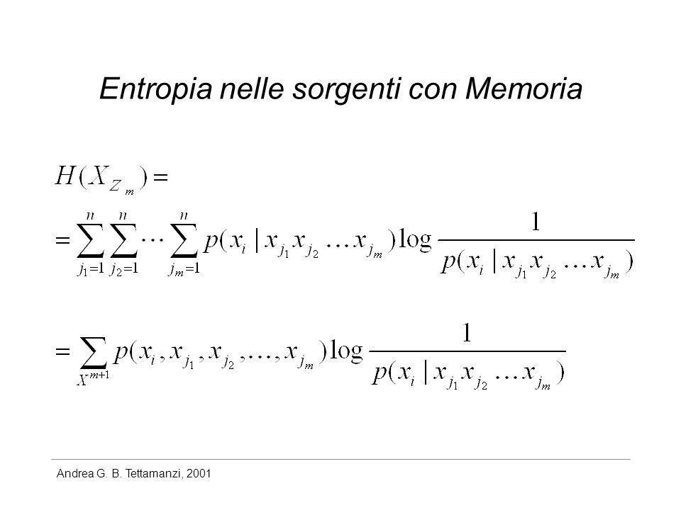 Andrea G. B. Tettamanzi, 2001 Entropia nelle sorgenti con Memoria