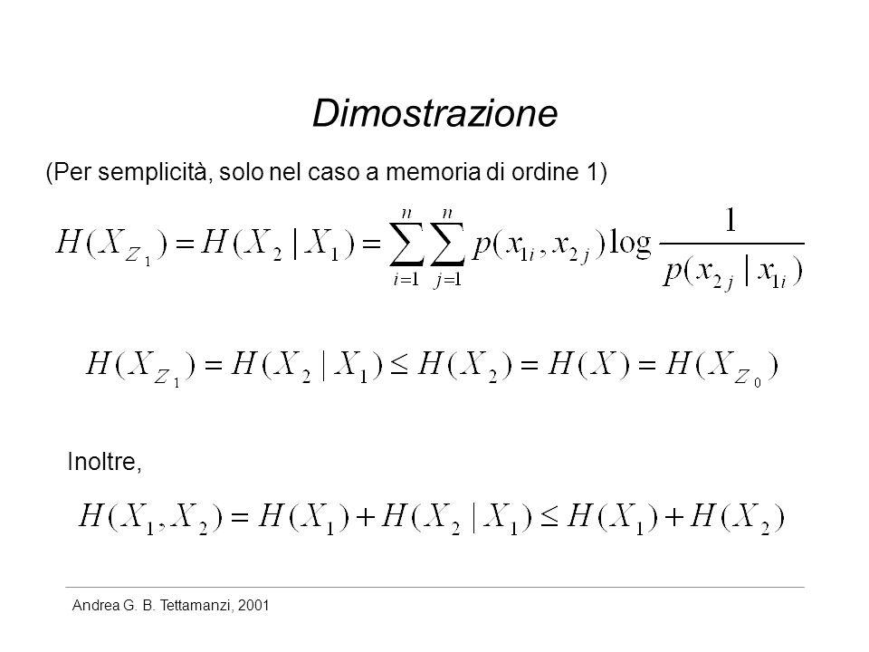 Andrea G. B. Tettamanzi, 2001 Dimostrazione (Per semplicità, solo nel caso a memoria di ordine 1) Inoltre,