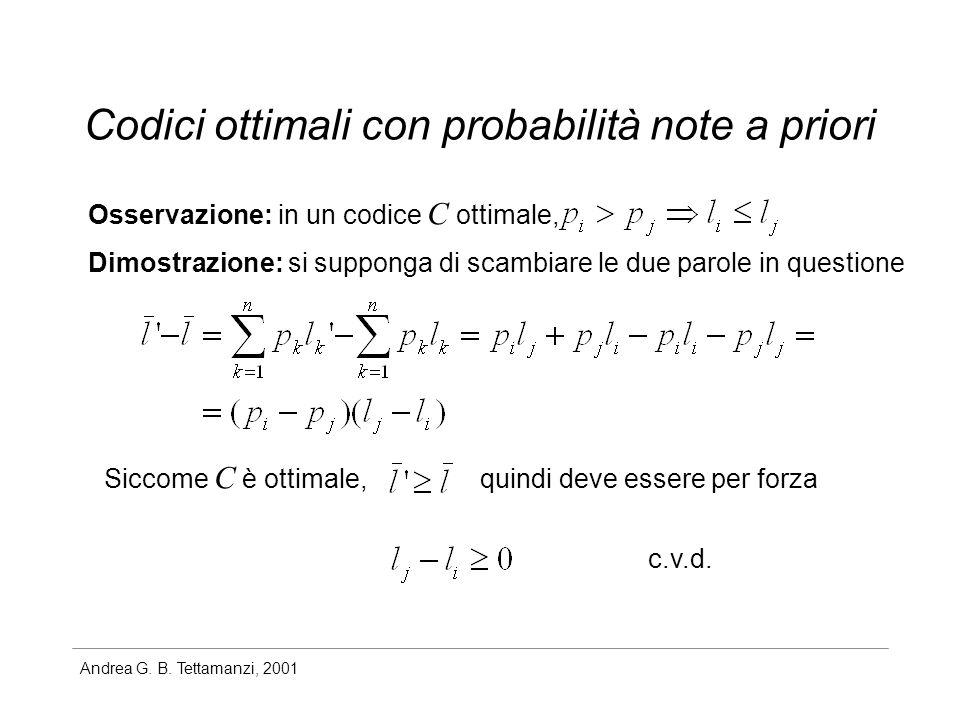 Andrea G. B. Tettamanzi, 2001 Codici ottimali con probabilità note a priori Osservazione: in un codice C ottimale, Dimostrazione: si supponga di scamb