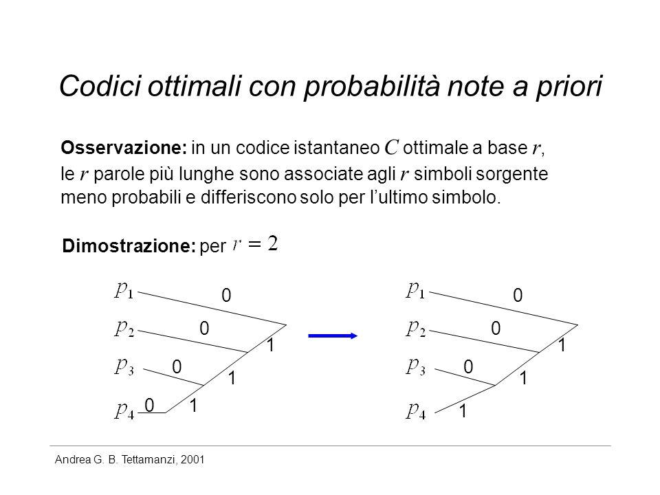 Andrea G. B. Tettamanzi, 2001 Codici ottimali con probabilità note a priori Osservazione: in un codice istantaneo C ottimale a base r, le r parole più