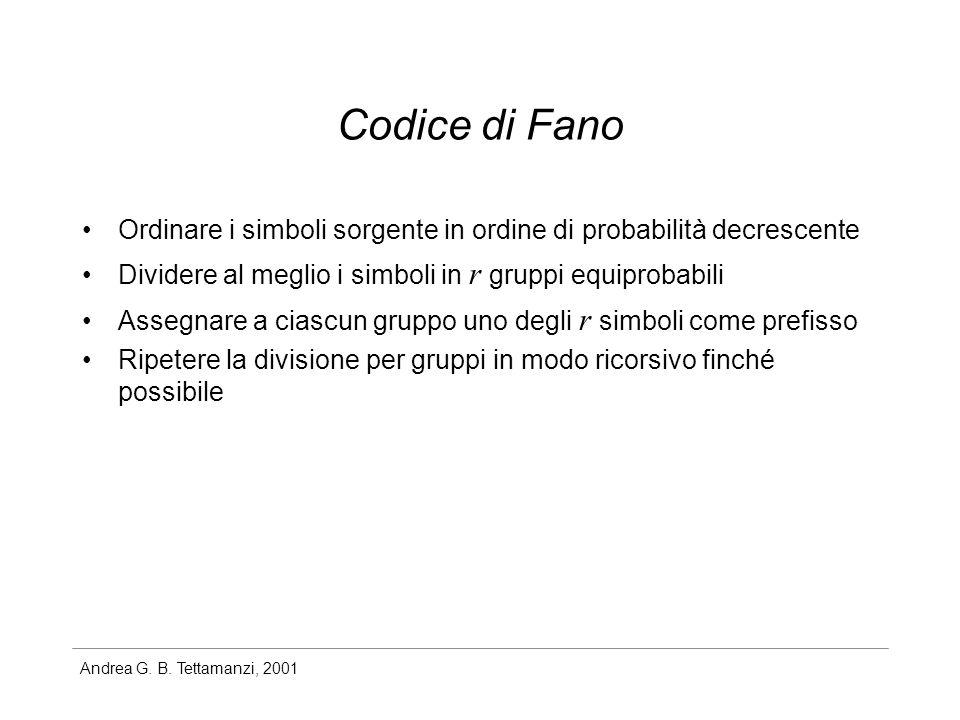 Andrea G. B. Tettamanzi, 2001 Codice di Fano Ordinare i simboli sorgente in ordine di probabilità decrescente Dividere al meglio i simboli in r gruppi