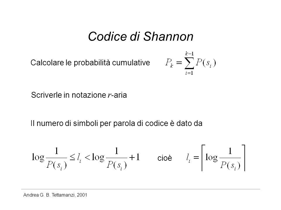Andrea G. B. Tettamanzi, 2001 Codice di Shannon Calcolare le probabilità cumulative Scriverle in notazione r -aria Il numero di simboli per parola di