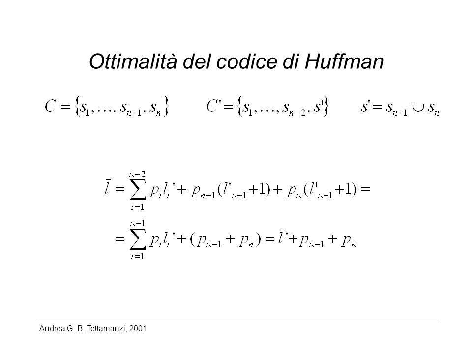 Andrea G. B. Tettamanzi, 2001 Ottimalità del codice di Huffman
