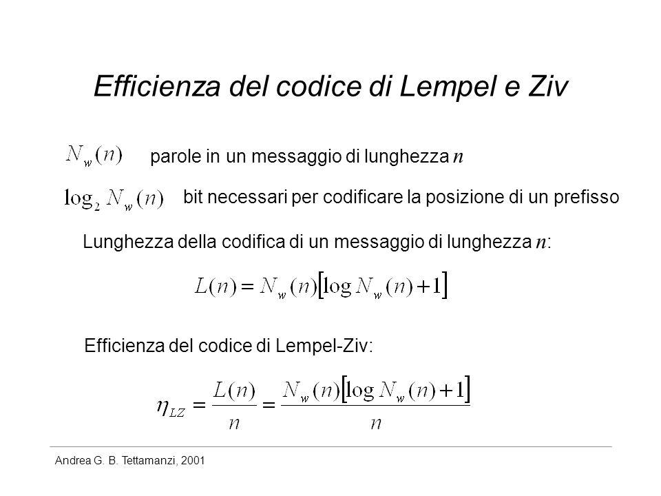 Andrea G. B. Tettamanzi, 2001 Efficienza del codice di Lempel e Ziv parole in un messaggio di lunghezza n bit necessari per codificare la posizione di
