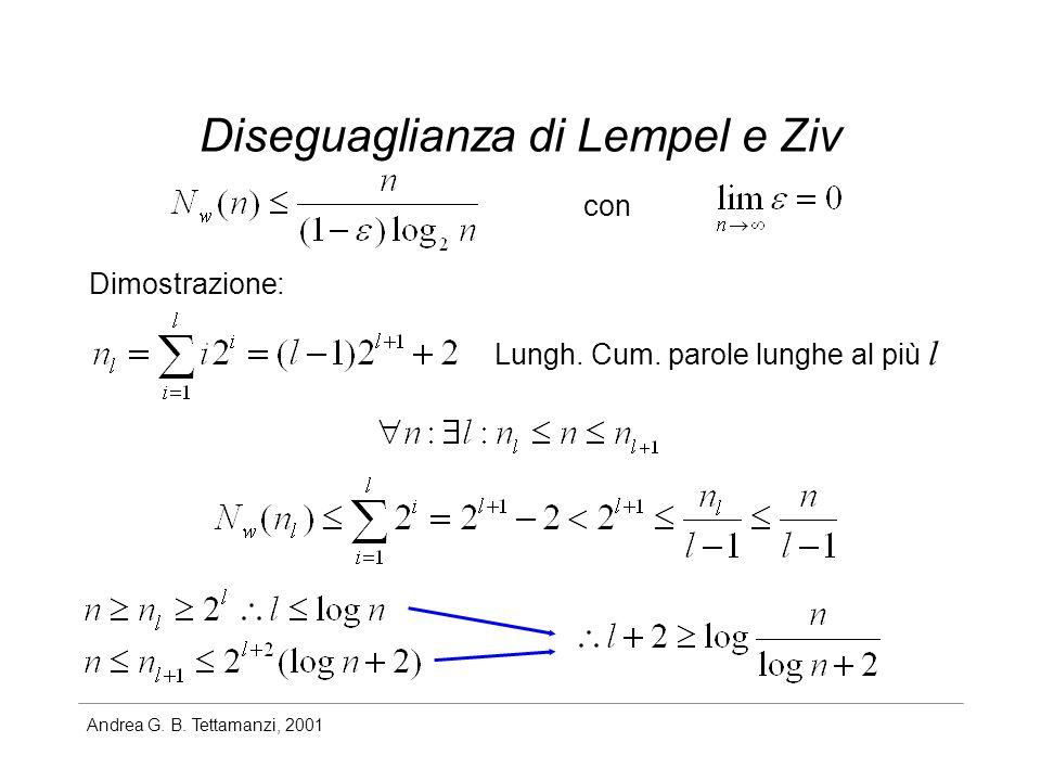 Andrea G. B. Tettamanzi, 2001 Diseguaglianza di Lempel e Ziv con Dimostrazione: Lungh. Cum. parole lunghe al più l