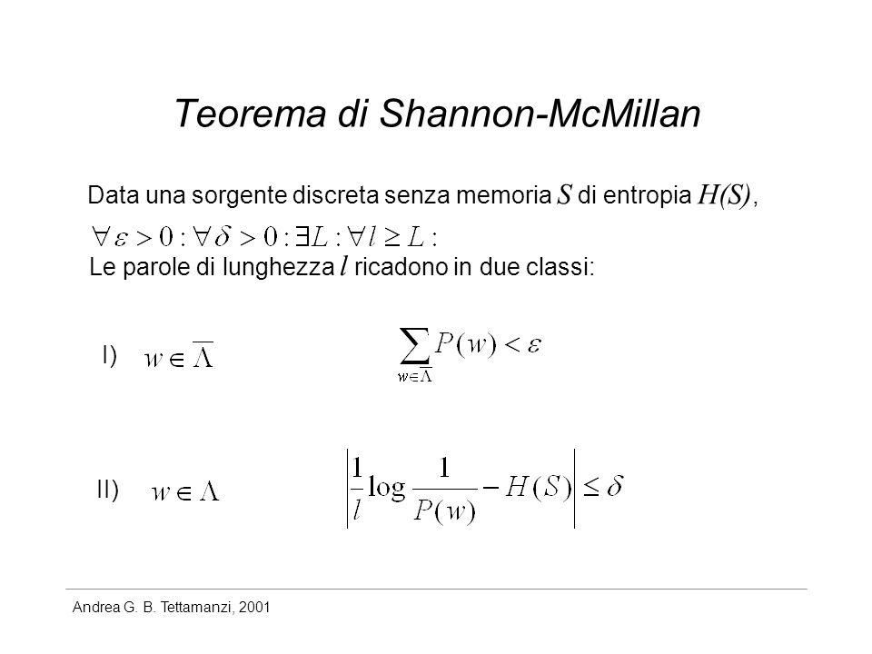 Andrea G. B. Tettamanzi, 2001 Teorema di Shannon-McMillan Data una sorgente discreta senza memoria S di entropia H(S), Le parole di lunghezza l ricado