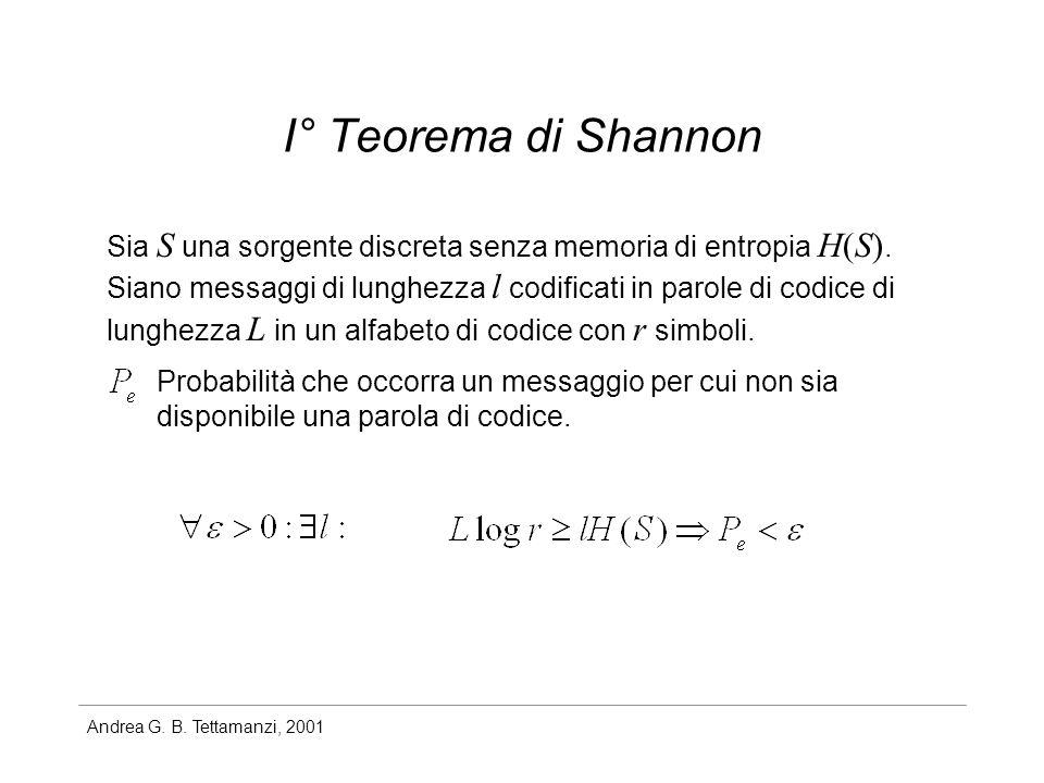 Andrea G. B. Tettamanzi, 2001 I° Teorema di Shannon Sia S una sorgente discreta senza memoria di entropia H(S). Siano messaggi di lunghezza l codifica