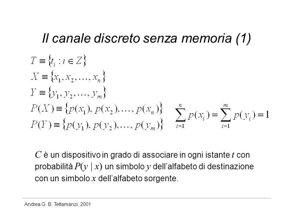 Andrea G. B. Tettamanzi, 2001 Il canale discreto senza memoria (1) C è un dispositivo in grado di associare in ogni istante t con probabilità P(y | x)