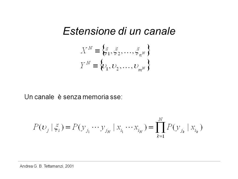 Andrea G. B. Tettamanzi, 2001 Estensione di un canale Un canale è senza memoria sse: