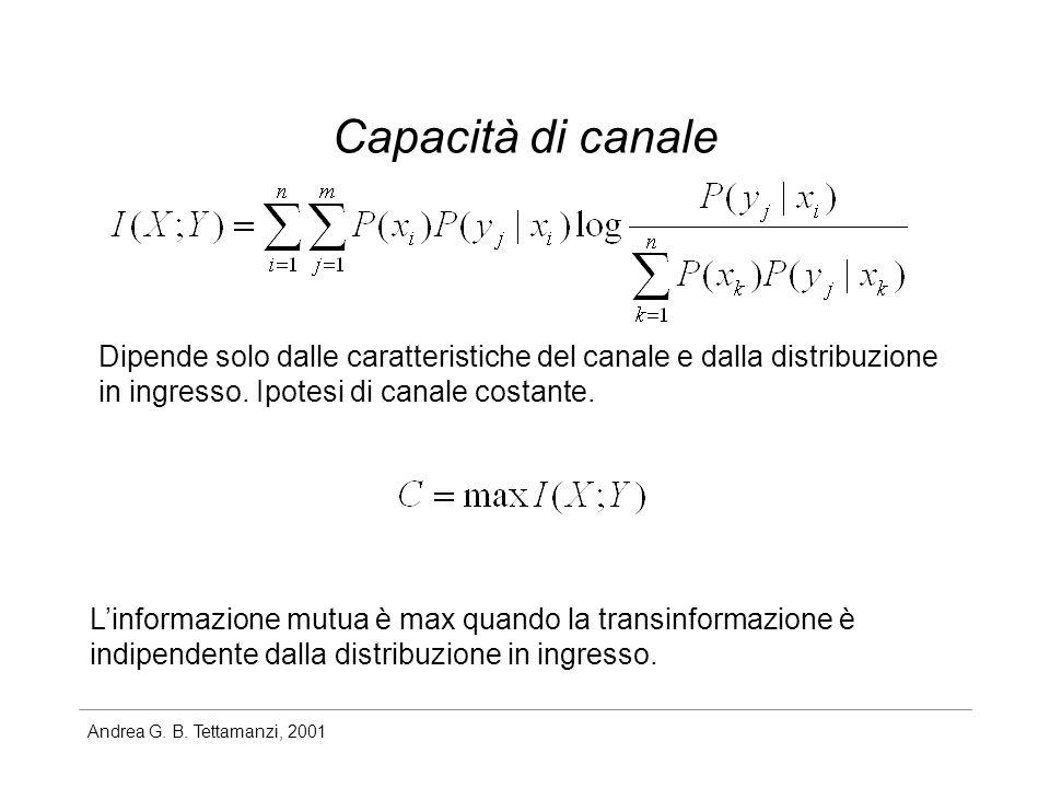 Andrea G. B. Tettamanzi, 2001 Capacità di canale Dipende solo dalle caratteristiche del canale e dalla distribuzione in ingresso. Ipotesi di canale co