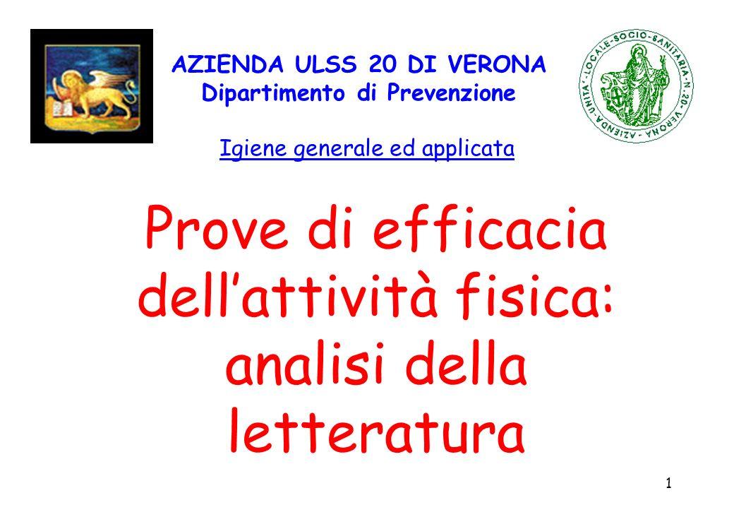 1 AZIENDA ULSS 20 DI VERONA Dipartimento di Prevenzione Igiene generale ed applicata Prove di efficacia dellattività fisica: analisi della letteratura
