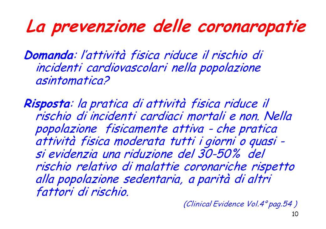 10 La prevenzione delle coronaropatie Domanda: lattività fisica riduce il rischio di incidenti cardiovascolari nella popolazione asintomatica? Rispost