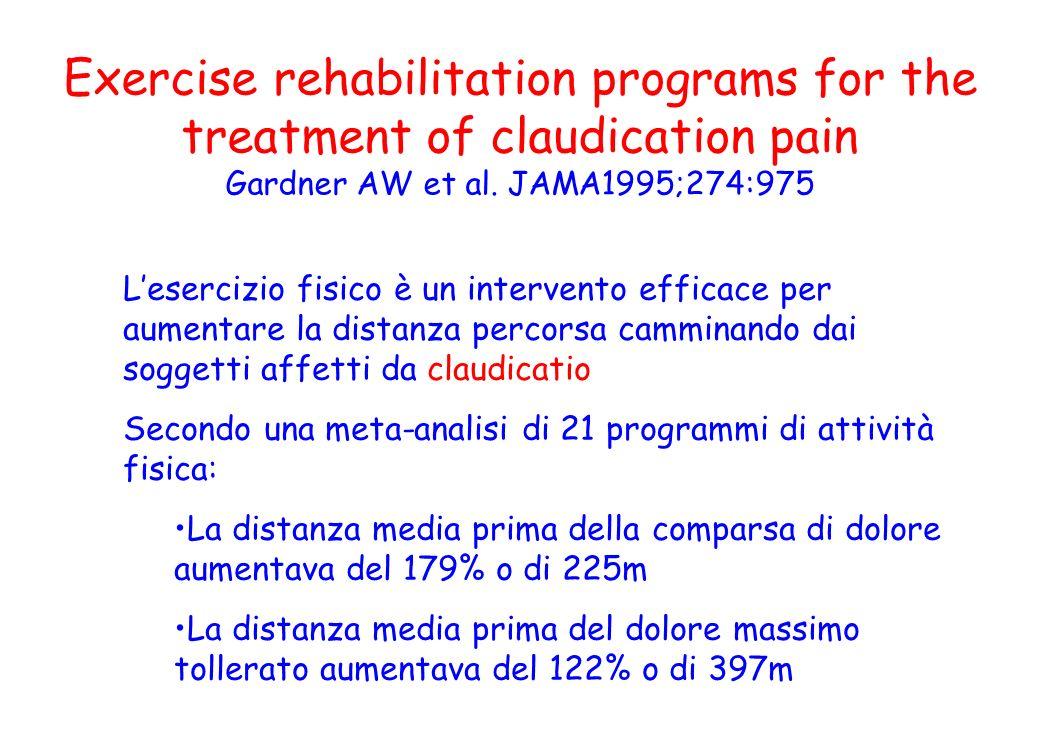 Exercise rehabilitation programs for the treatment of claudication pain Gardner AW et al. JAMA1995;274:975 Lesercizio fisico è un intervento efficace