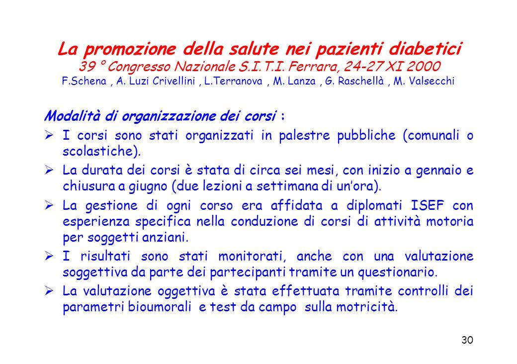 30 La promozione della salute nei pazienti diabetici 39 ° Congresso Nazionale S.I.T.I. Ferrara, 24-27 XI 2000 F.Schena, A. Luzi Crivellini, L.Terranov