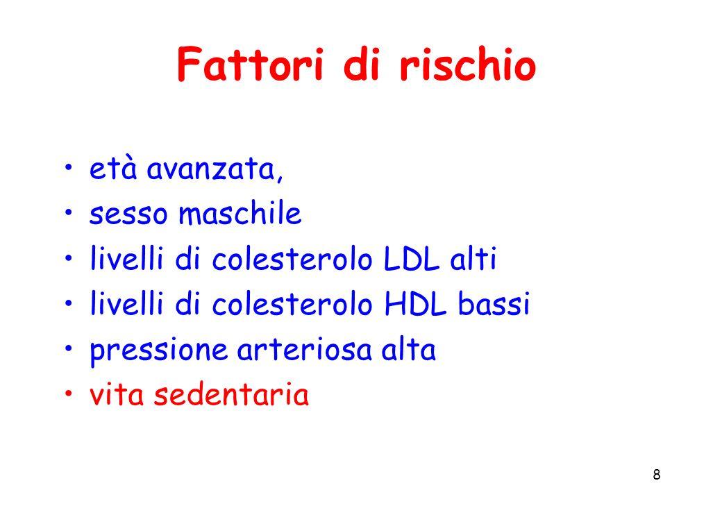 8 Fattori di rischio età avanzata, sesso maschile livelli di colesterolo LDL alti livelli di colesterolo HDL bassi pressione arteriosa alta vita seden