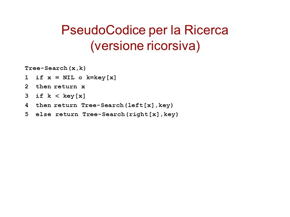 PseudoCodice per la Ricerca (versione ricorsiva) Tree-Search(x,k) 1if x = NIL o k=key[x] 2thenreturn x 3if k < key[x] 4thenreturn Tree-Search(left[x],