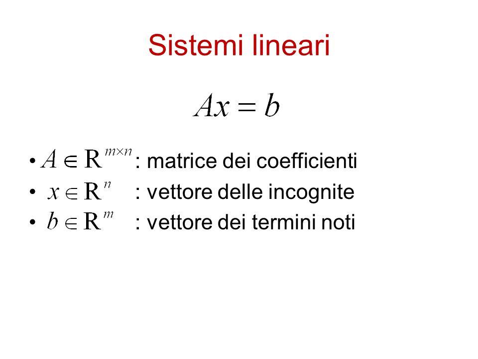 Sistemi lineari : matrice dei coefficienti : vettore delle incognite : vettore dei termini noti