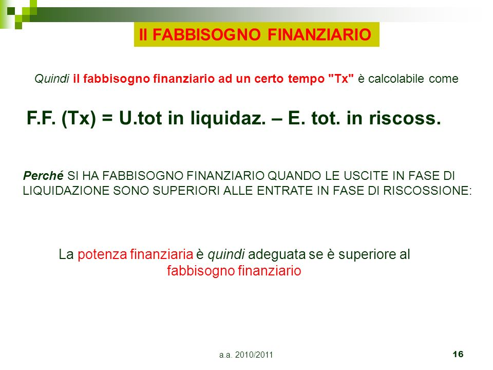 a.a. 2010/201116 F.F. (Tx) = U.tot in liquidaz. – E. tot. in riscoss. Quindi il fabbisogno finanziario ad un certo tempo