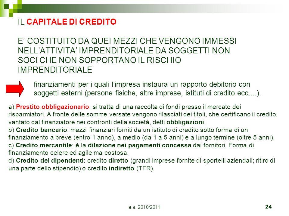 a.a. 2010/201124 IL CAPITALE DI CREDITO E COSTITUITO DA QUEI MEZZI CHE VENGONO IMMESSI NELLATTIVITA IMPRENDITORIALE DA SOGGETTI NON SOCI CHE NON SOPPO