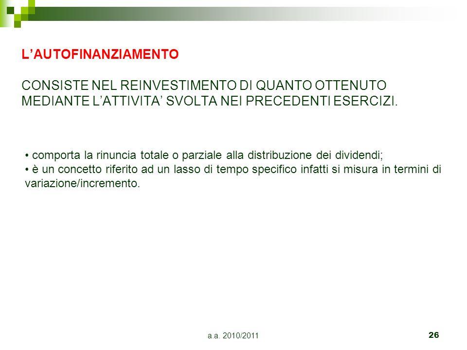 a.a. 2010/201126 LAUTOFINANZIAMENTO CONSISTE NEL REINVESTIMENTO DI QUANTO OTTENUTO MEDIANTE LATTIVITA SVOLTA NEI PRECEDENTI ESERCIZI. comporta la rinu