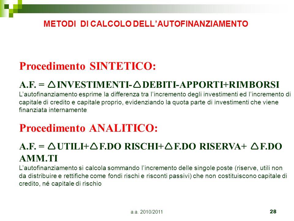 a.a. 2010/201128 METODI DI CALCOLO DELLAUTOFINANZIAMENTO Procedimento SINTETICO: A.F. = INVESTIMENTI- DEBITI-APPORTI+RIMBORSI Lautofinanziamento espri