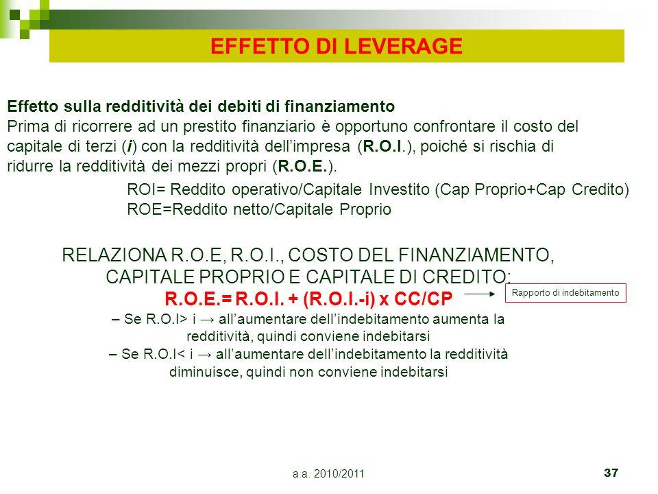 a.a. 2010/201137 RELAZIONA R.O.E, R.O.I., COSTO DEL FINANZIAMENTO, CAPITALE PROPRIO E CAPITALE DI CREDITO: R.O.E.= R.O.I. + (R.O.I.-i) x CC/CP – Se R.