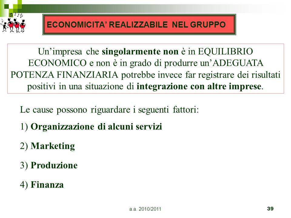 a.a. 2010/201139 Unimpresa che singolarmente non è in EQUILIBRIO ECONOMICO e non è in grado di produrre unADEGUATA POTENZA FINANZIARIA potrebbe invece