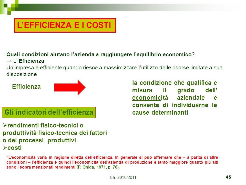 a.a. 2010/201145 Efficienza la condizione che qualifica e misura il grado dell economicità aziendale e consente di individuarne le cause determinanti