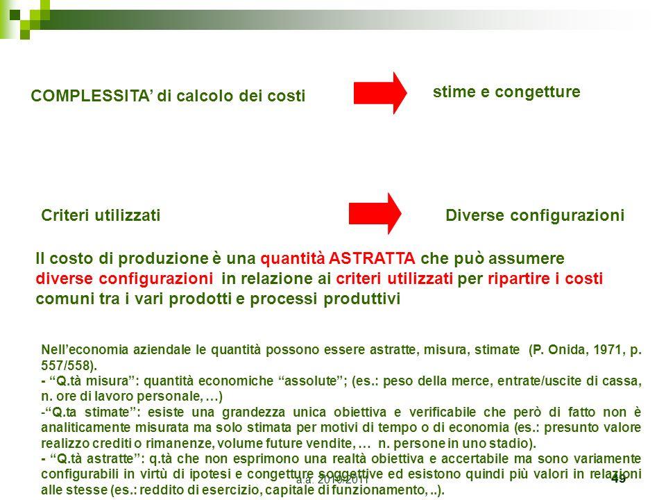 a.a. 2010/201149 Il costo di produzione è una quantità ASTRATTA che può assumere diverse configurazioni in relazione ai criteri utilizzati per riparti