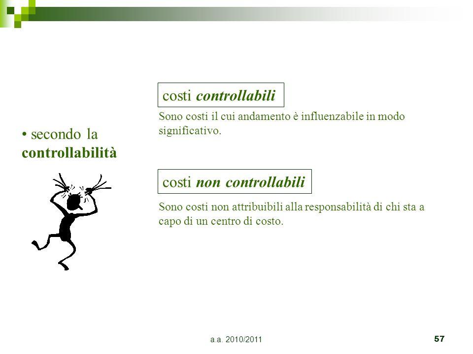 a.a. 2010/201157 secondo la controllabilità costi controllabili Sono costi il cui andamento è influenzabile in modo significativo. costi non controlla