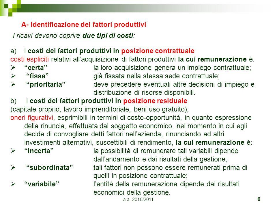 a.a. 2010/20116 A- Identificazione dei fattori produttivi I ricavi devono coprire due tipi di costi: a)i costi dei fattori produttivi in posizione con
