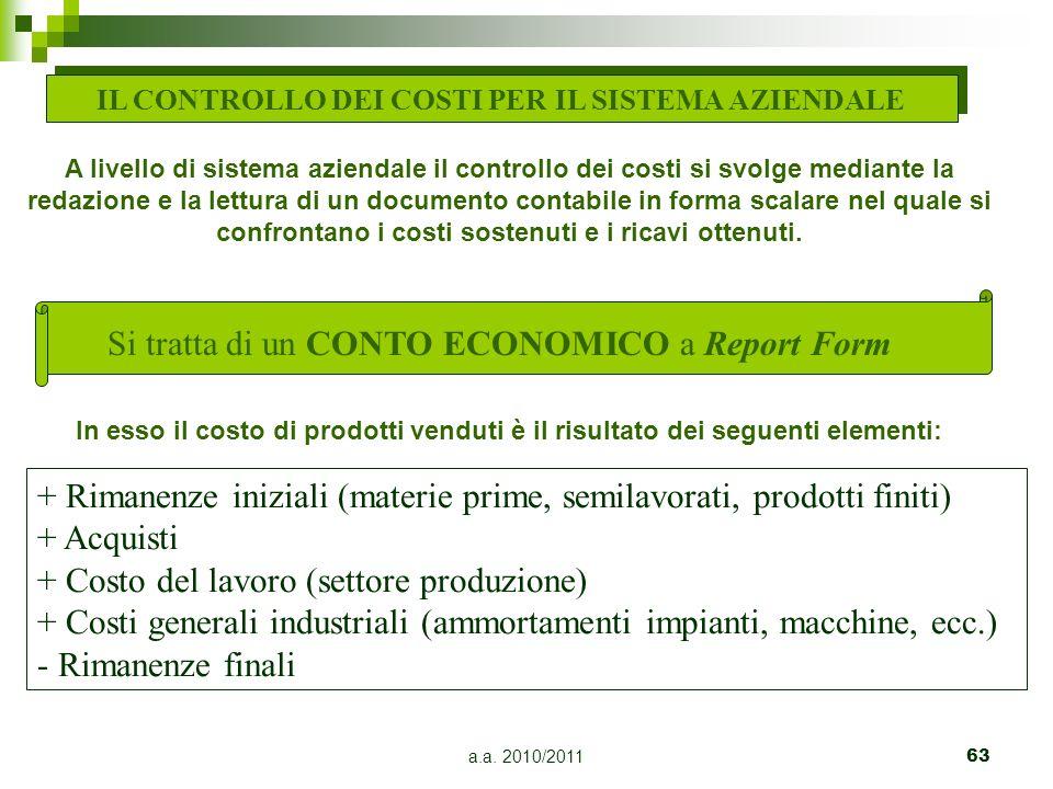 a.a. 2010/201163 IL CONTROLLO DEI COSTI PER IL SISTEMA AZIENDALE A livello di sistema aziendale il controllo dei costi si svolge mediante la redazione