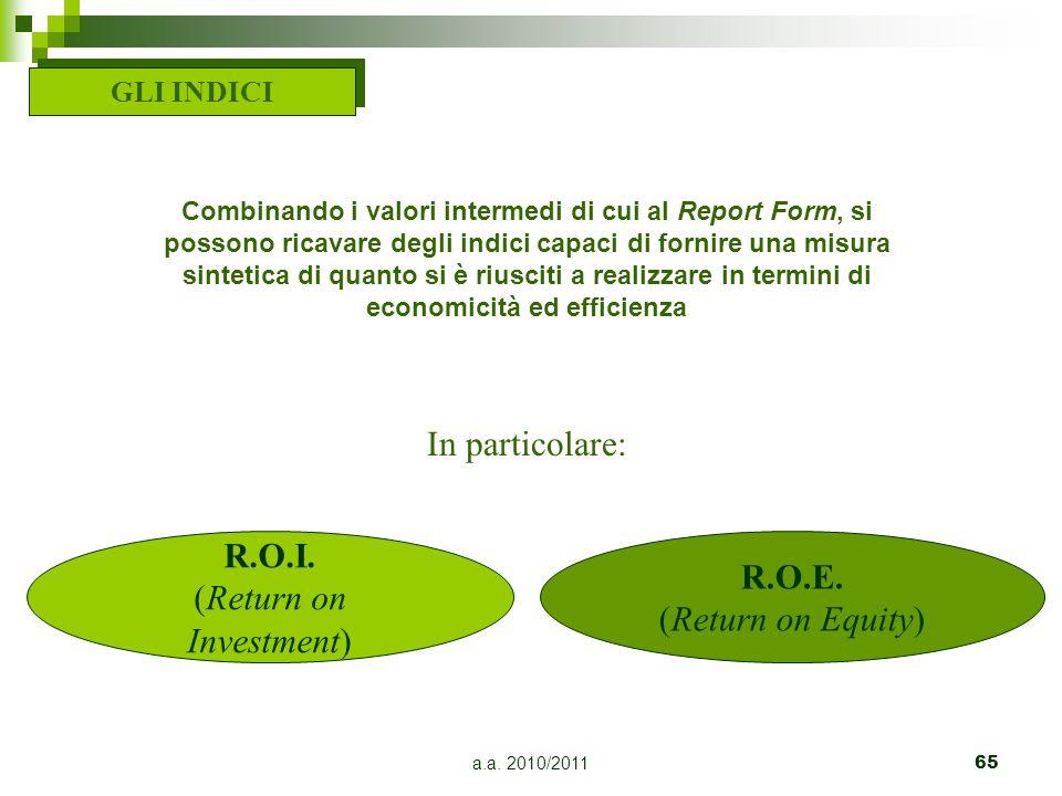 a.a. 2010/201165 GLI INDICI In particolare: Combinando i valori intermedi di cui al Report Form, si possono ricavare degli indici capaci di fornire un