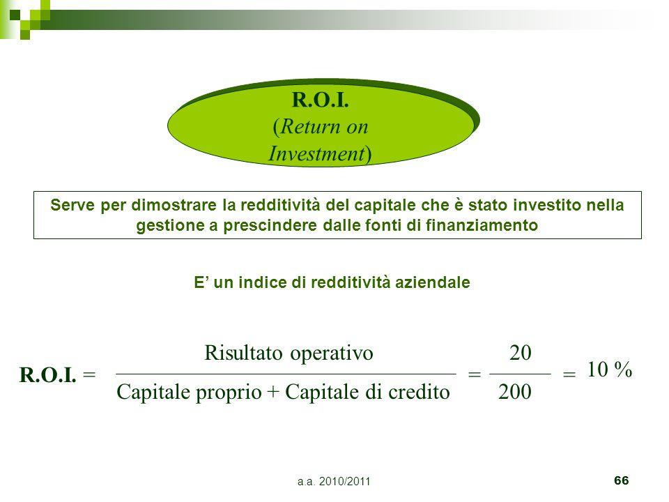 a.a. 2010/201166 R.O.I. (Return on Investment) Serve per dimostrare la redditività del capitale che è stato investito nella gestione a prescindere dal