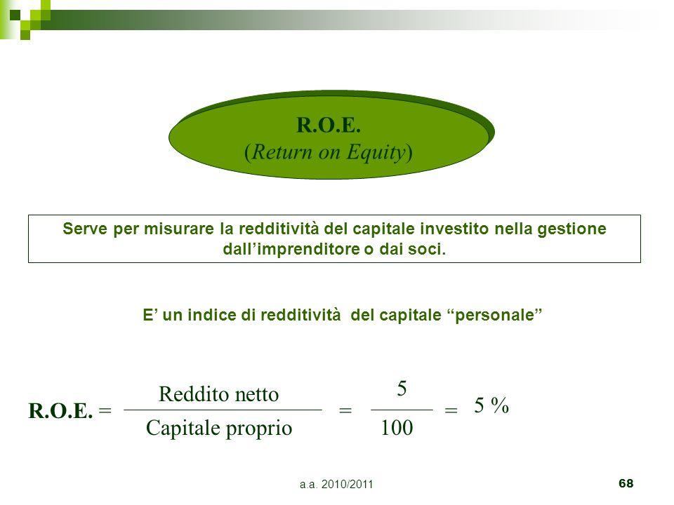 a.a. 2010/201168 Serve per misurare la redditività del capitale investito nella gestione dallimprenditore o dai soci. R.O.E. = Reddito netto Capitale