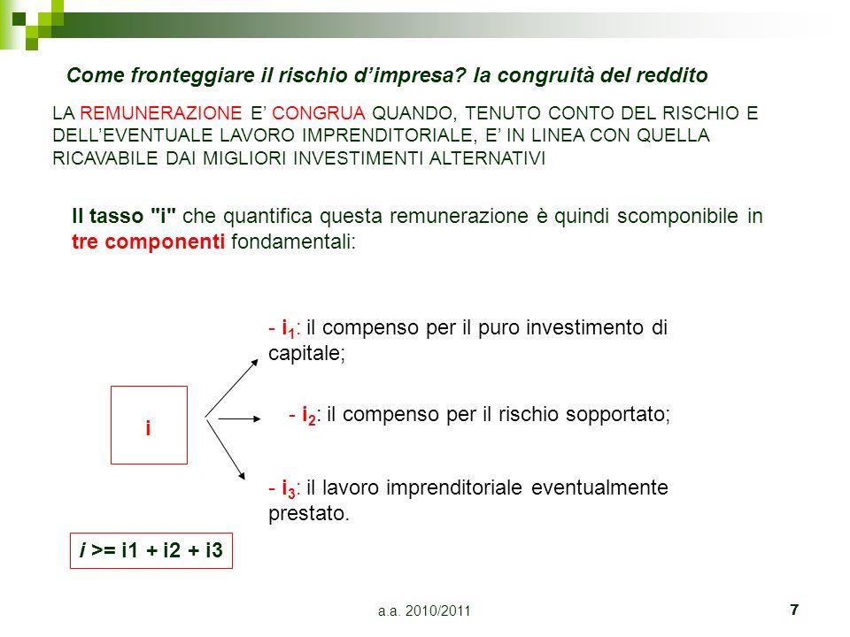 a.a. 2010/20117 - i 1 : il compenso per il puro investimento di capitale; - i 2 : il compenso per il rischio sopportato; - i 3 : il lavoro imprenditor