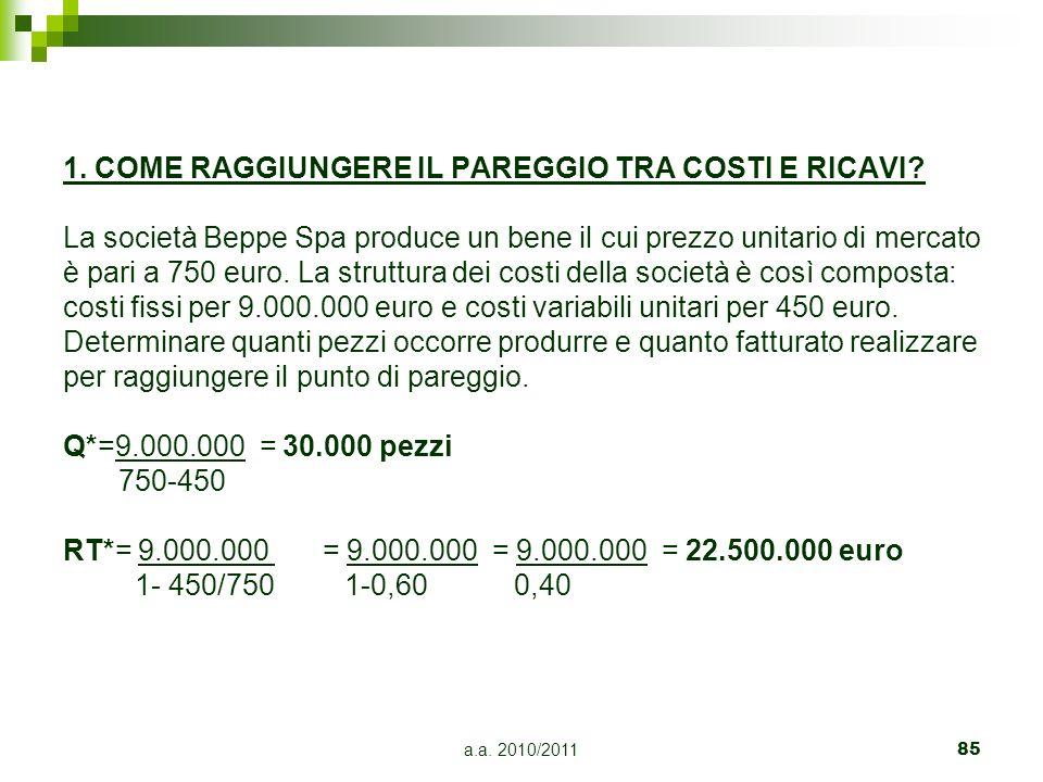 a.a. 2010/201185 1. COME RAGGIUNGERE IL PAREGGIO TRA COSTI E RICAVI? La società Beppe Spa produce un bene il cui prezzo unitario di mercato è pari a 7